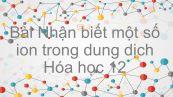 Hoá học 12 Bài 40: Nhận biết một số ion trong dung dịch