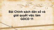 GDCD 11 Bài 11: Chính sách dân số và giải quyết việc làm