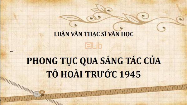Luận văn ThS: Phong tục qua sáng tác của Tô Hoài trước 1945