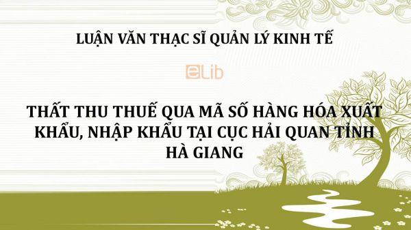 Luận văn ThS: Thất thu thuế qua mã số hàng hóa xuất khẩu, nhập khẩu tại Cục Hải quan tỉnh Hà Giang
