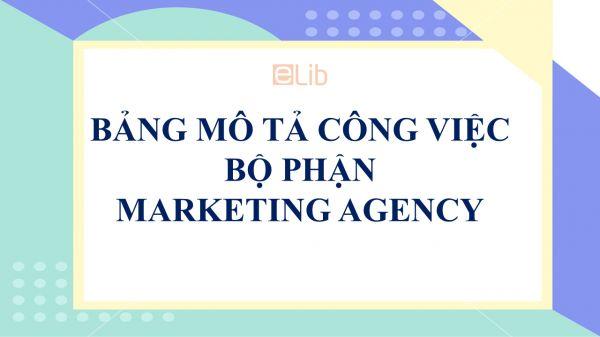 Bảng mô tả công việc bộ phận Marketing Agency