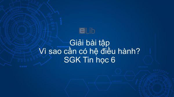 Giải bài tập SGK Tin học 6 Bài 9: Vì sao cần có hệ điều hành?