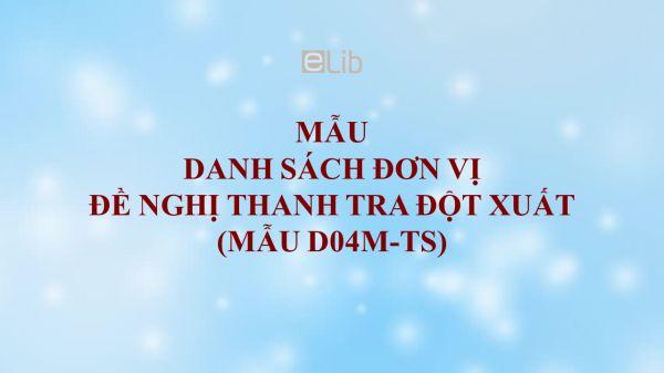 Mẫu D04m-TS: Danh sách đơn vị đề nghị thanh tra đột xuất
