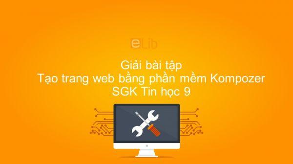 Giải bài tập SGK Tin học 9 Bài 5: Tạo trang web bằng phần mềm Kompozer