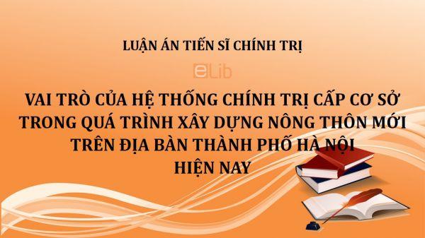 Luận án TS: Vai trò của hệ thống chính trị cấp cơ sở trong quá trình xây dựng nông thôn mới trên địa bàn thành phố Hà Nội hiện nay