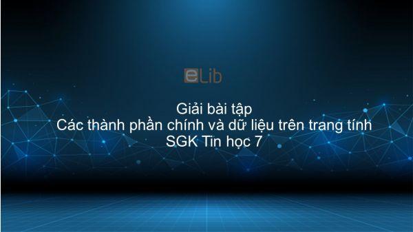 Giải bài tập SGK Tin học 7 Bài 2: Các thành phần chính và dữ liệu trên trang tính