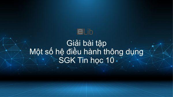 Giải bài tập SGK Tin học 10 Bài 13: Một số hệ điều hành thông dụng