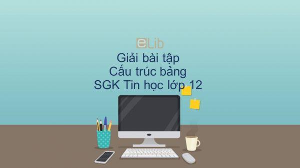 Giải bài tập SGK Tin học 12 Bài 4: Cấu trúc bảng