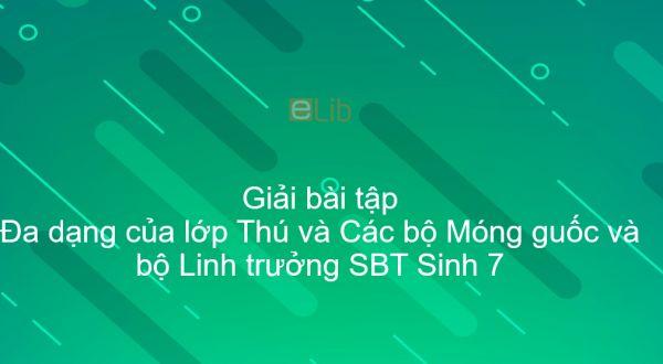 Giải SBT Sinh 7 Bài 51: Đa dạng của lớp Thú và Các bộ Móng guốc và bộ Linh trưởng