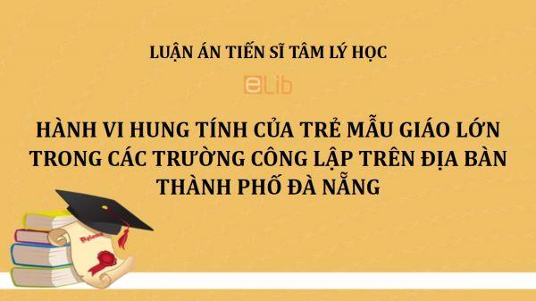 Luận án TS: Hành vi hung tính của trẻ mẫu giáo lớn trong các trường công lập trên địa bàn thành phố Đà Nẵng