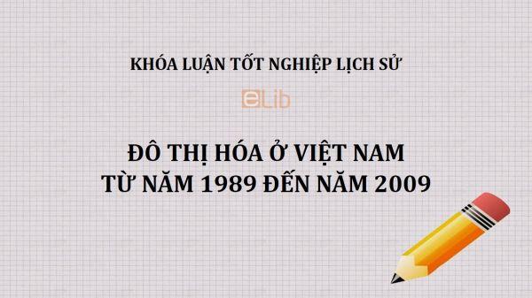 Khóa luận: Đô thị hóa ở Việt Nam từ năm 1989 đến năm 2009