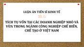 Luận án TS: Tích tụ vốn tại các doanh nghiệp nhỏ và vừa trong ngành công nghiệp chế biến, chế tạo ở Việt Nam