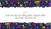 Giải bài tập SBT Toán 12 Bài 1: Sự đồng biến, nghịch biến của hàm số