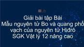 Giải bài tập SGK Vật lý 12 nâng cao Bài 47: Mẫu nguyên tử Bo và quang phổ vạch của nguyên tử Hiđrô