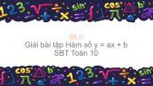 Giải bài tập SBT Toán 10 Bài 2: Hàm số y = ax + b