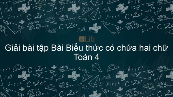 Giải bài tập VBT Toán 4 Bài 32: Biểu thức có chứa hai chữ