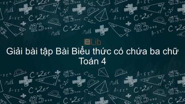 Giải bài tập VBT Toán 4 Bài Bài 34: Biểu thức có chứa ba chữ