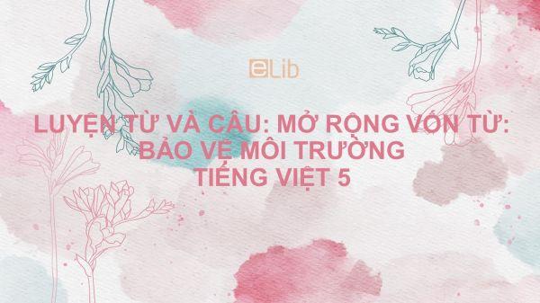 Luyện từ và câu: Mở rộng vốn từ: Bảo vệ môi trường Tiếng Việt 5