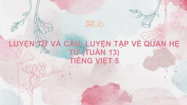 Luyện từ và câu: Luyện tập về quan hệ từ (Tuần 13) Tiếng Việt 5
