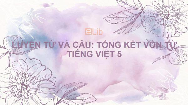 Luyện từ và câu: Tổng kết vốn từ Tiếng Việt 5