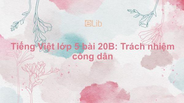 Tiếng Việt lớp 5 bài 20B: Trách nhiệm công dân