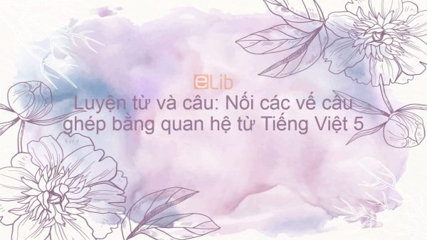 Luyện từ và câu: Nối các vế câu ghép bằng quan hệ từ Tiếng Việt 5