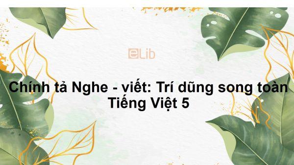 Chính tả Nghe - viết: Trí dũng song toàn Tiếng Việt 5