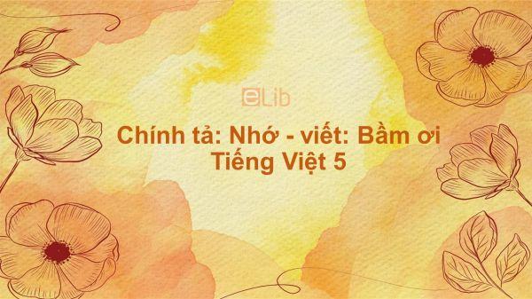 Chính tả: Nhớ - viết: Bầm ơi Tiếng Việt 5