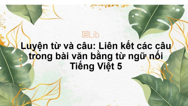 Luyện từ và câu: Liên kết các câu trong bài văn bằng từ ngữ nối Tiếng Việt 5