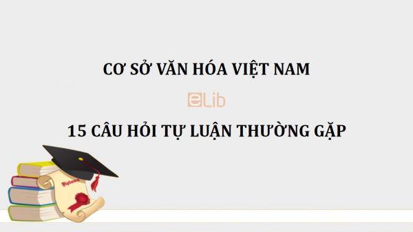 15 câu hỏi tự luận thường gặp môn Cơ sở văn hóa Việt Nam