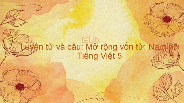 Luyện từ và câu: Mở rộng vốn từ: Nam nữ Tiếng Việt 5