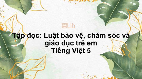 Tập đọc: Luật bảo vệ, chăm sóc và giáo dục trẻ em Tiếng Việt 5