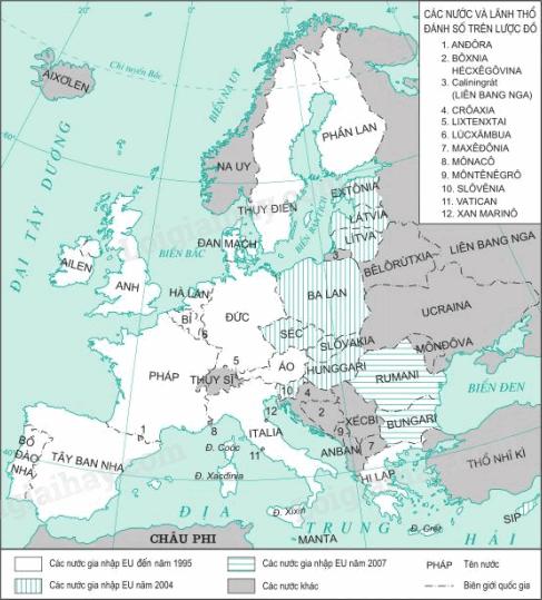 Hình 3: Lược đồ các nước thuộc Liên minh châu Âu EU (2007)