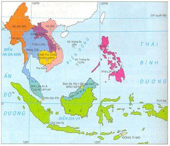 Hình 1: Lược đồ khu vực Đông Nam Á sau chiến tranh thế giới thứ hai