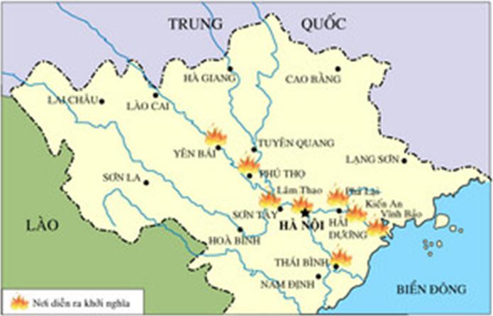 Hình 3: Lược đồ khởi nghĩa Yên Bái (9/2/21930)