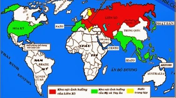 Hình 2: Sự phân chia khu vực ảnh hưởng trên thế giới theo khuân khổ của trật tự hai cực Ianta