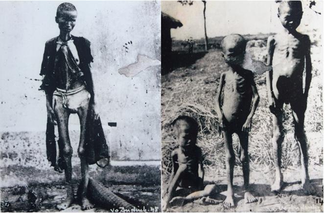 Hình 1: Nhân dân Việt Nam đói khổ do hậu quả của nạn đói năm 1945