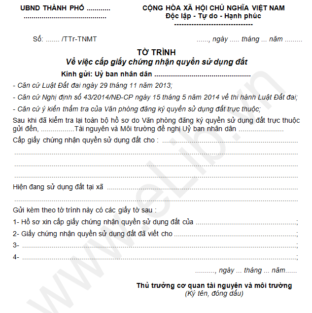 Mẫu tờ trình về việc cấp giấy chứng nhận quyền sử dụng đất