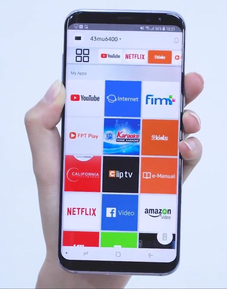 Màn hình điện thoại hiển thị các ứng dụng Tivi để điều khiển