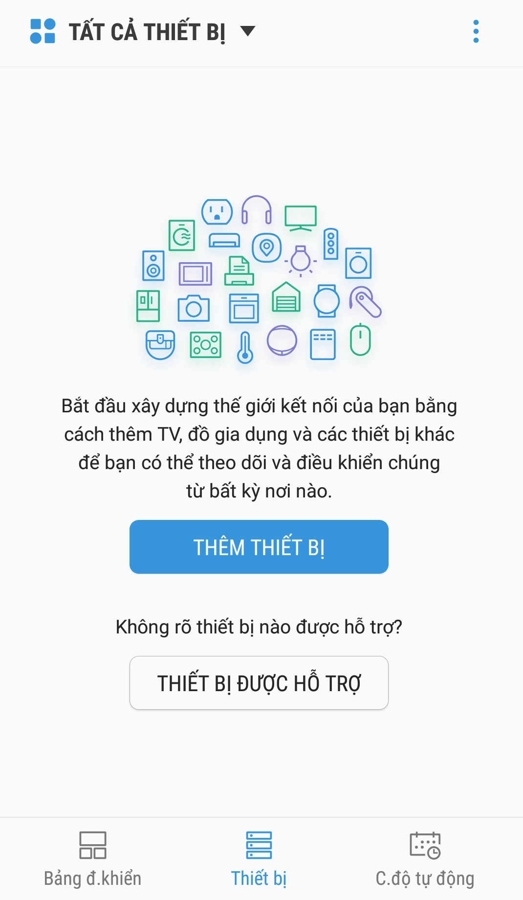 Ứng dụng Smart Things thêm thiết bị để tìm kiếm Tivi