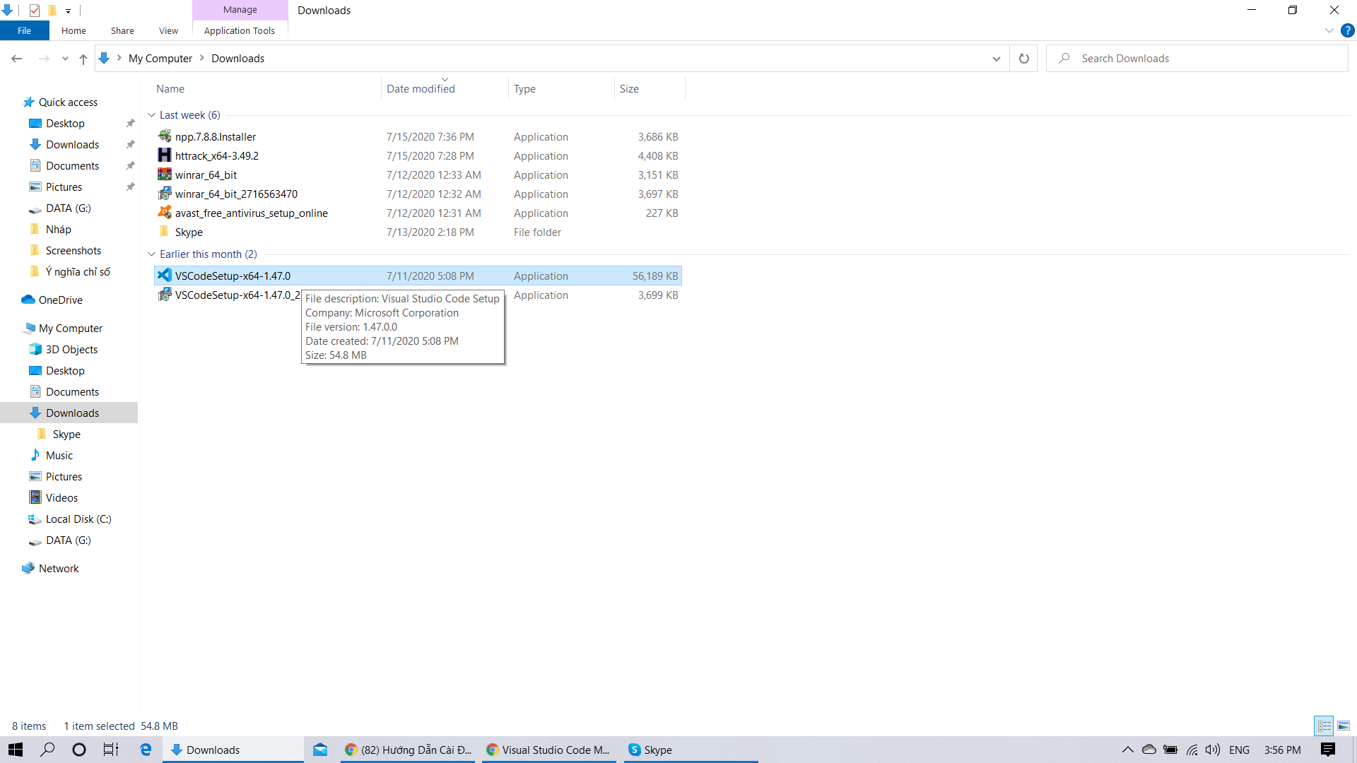 Chạy file VSCodeSetup 1.47.0