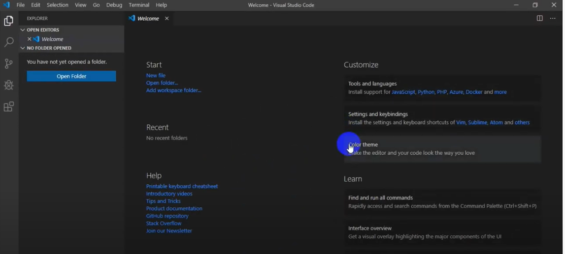 Giao diện phần mềm Visual Studio Code