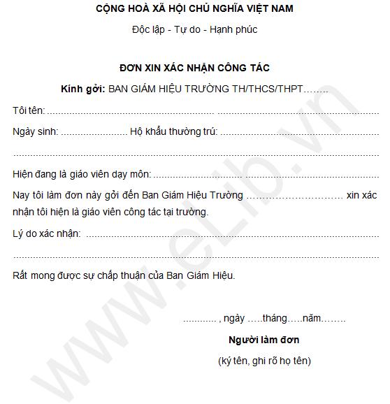 Mẫu giấy xin xác nhận công tác tại trường