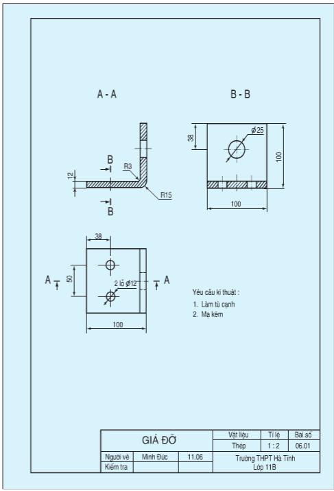 Hình 9.1 là bản vẽ chi tiết giá đỡ. Giá đỡ dùng để đỡ trục và con lăn trong bộ giá đỡ