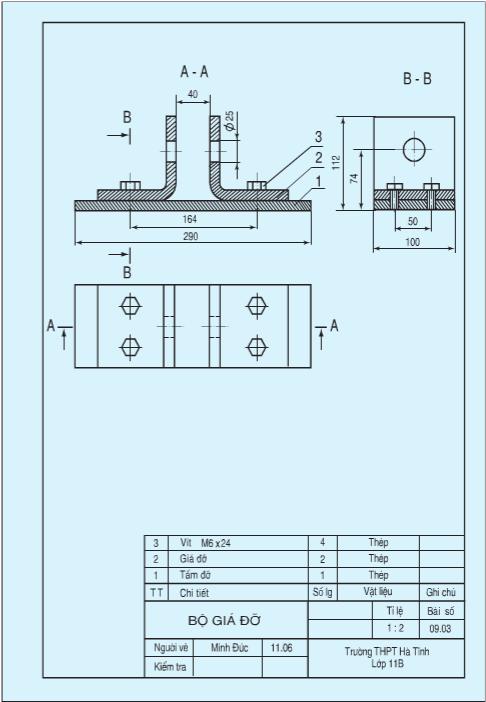 Bản vẽ lắp của bộ giá đỡ (Hình 9.4)