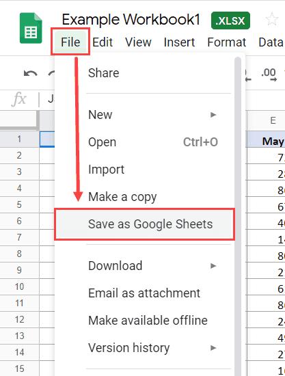 Cách mở tập tin Excel trong Google Sheets