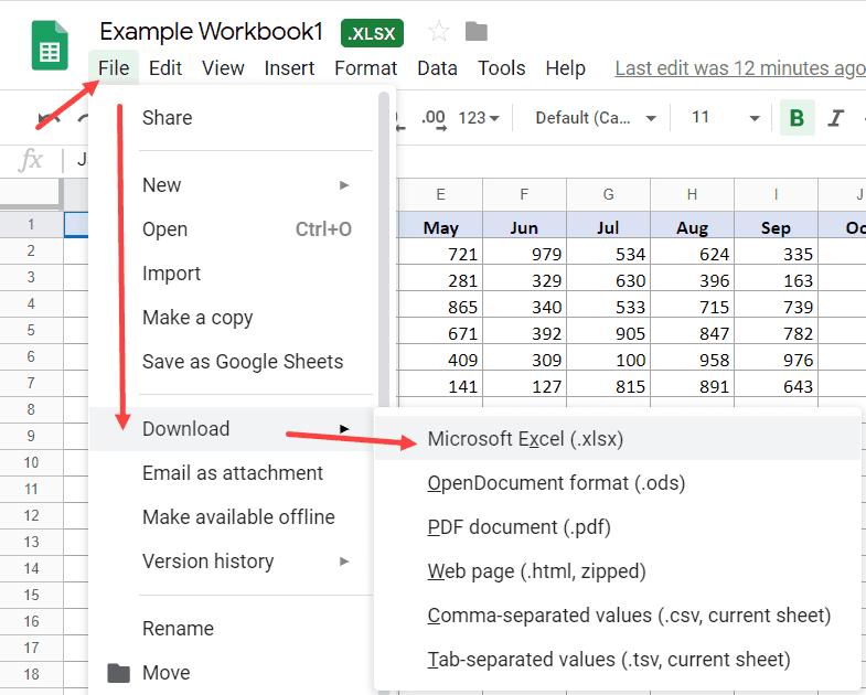 Cách xuất tập tin Google Sheets trở lại Excel