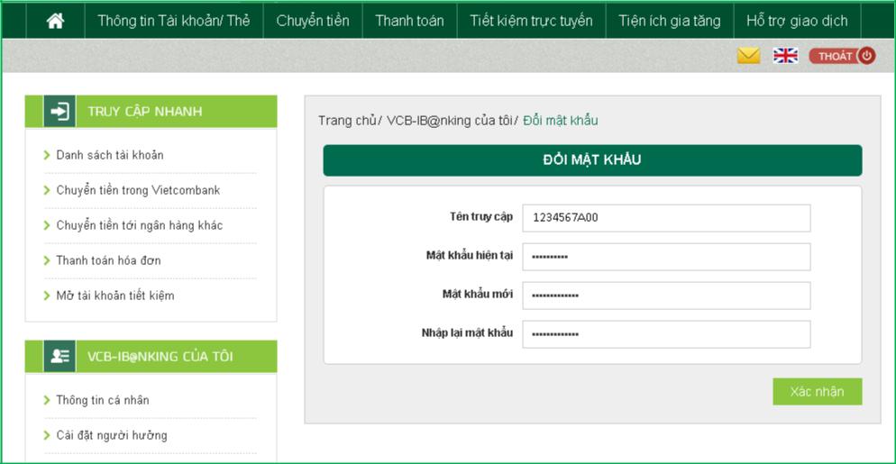 Cách bước đổi mật khẩu Internet Banking Vietcombank