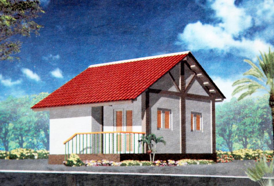 Hình chiếu phối cảnh ngôi nhà một tầng