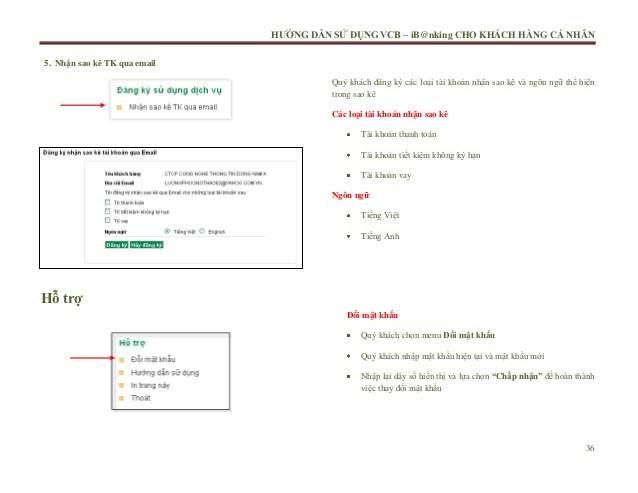 Cách in sao kê tài khoản thanh toán tại Vietcombank